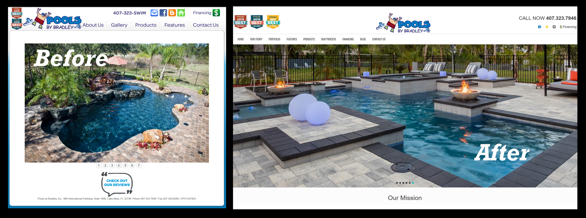 Pools by Bradley Before and After of New Web site